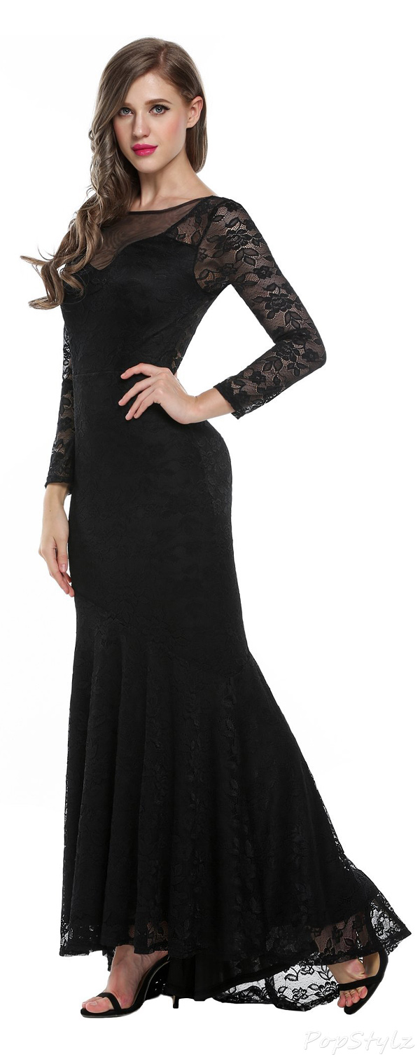 ANGVNS Long Sleeve Floral Lace Maxi Dress