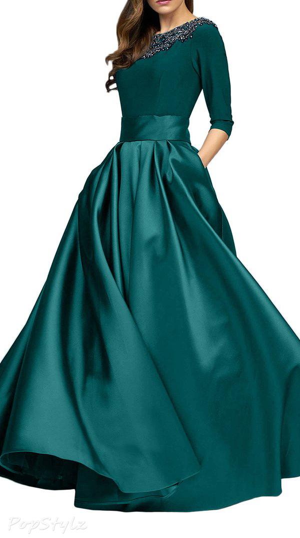 Sunvary Half Sleeves Floor Length Gown