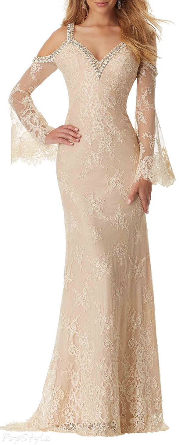 TBB Long Sleeve Lace Evening Gown