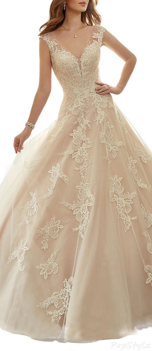 TBB Tulle Lace Appliques Chapel Train Gown