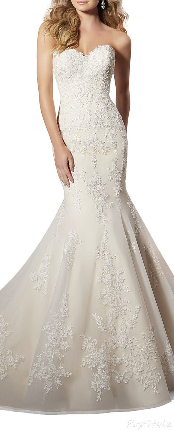 TBB Lace Tulle & Satin Long Train Gown