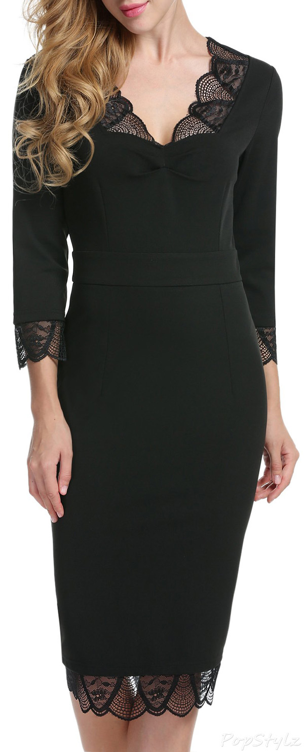 Acevog Floral Lace 3/4 Sleeve Pencil Dress