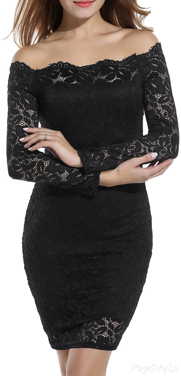 Acevog Off Shoulder Long Sleeve Bodycon Dress