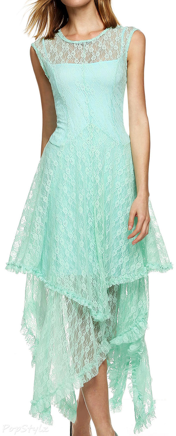 Acevog Sleeveless Floral Lace Tiered Dress