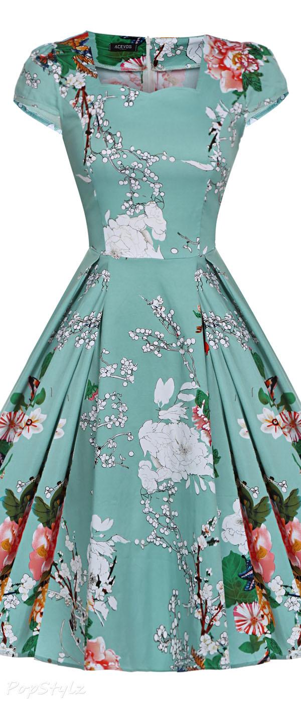 Acevog Vintage 1950s Cap Sleeve Swing Party Dress