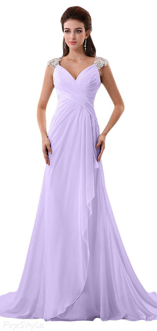 Audrey Bride Cap Sleeve Long Formal Dress