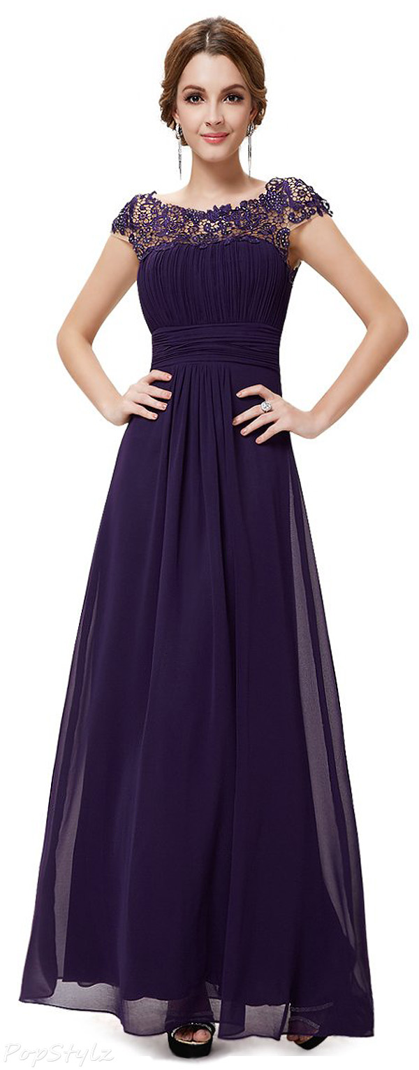 Ever Pretty Cap Sleeves Lace Neckline Evening Dress