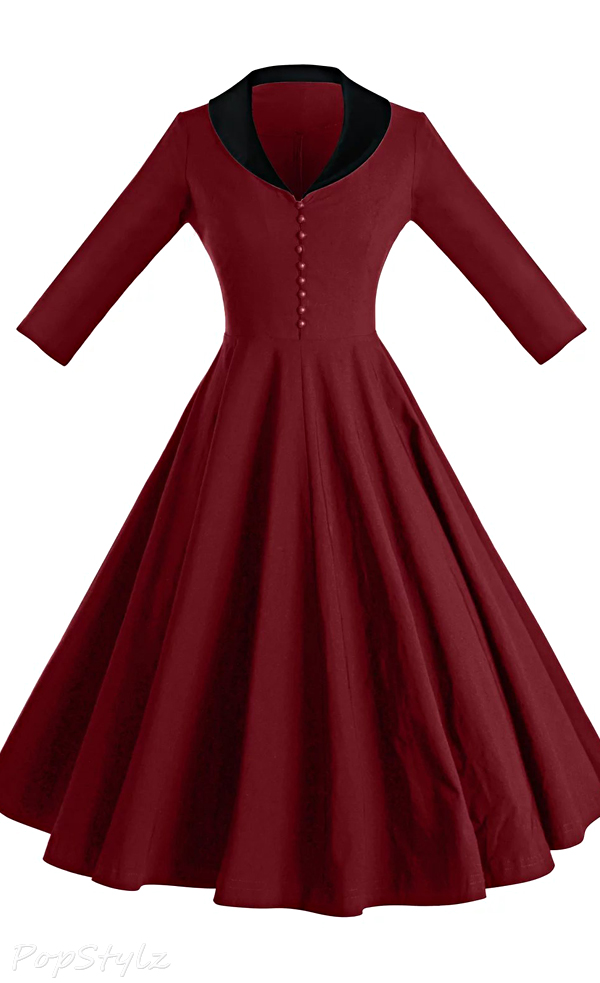 GownTown Vintage 1950s Cape Collar Swing Dress