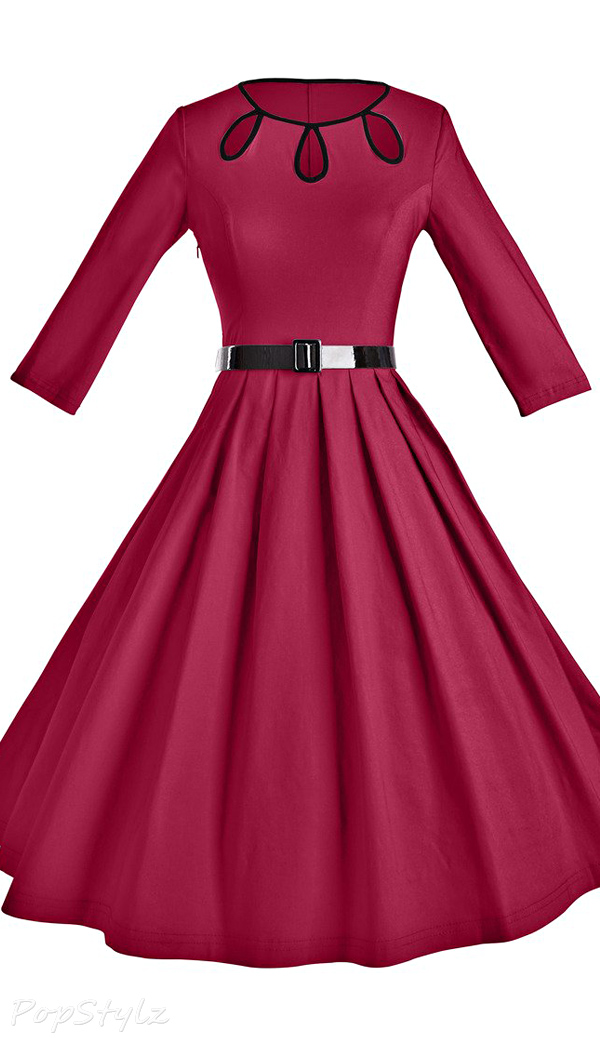 GownTown 1950s Vintage Pleated Swing Dress