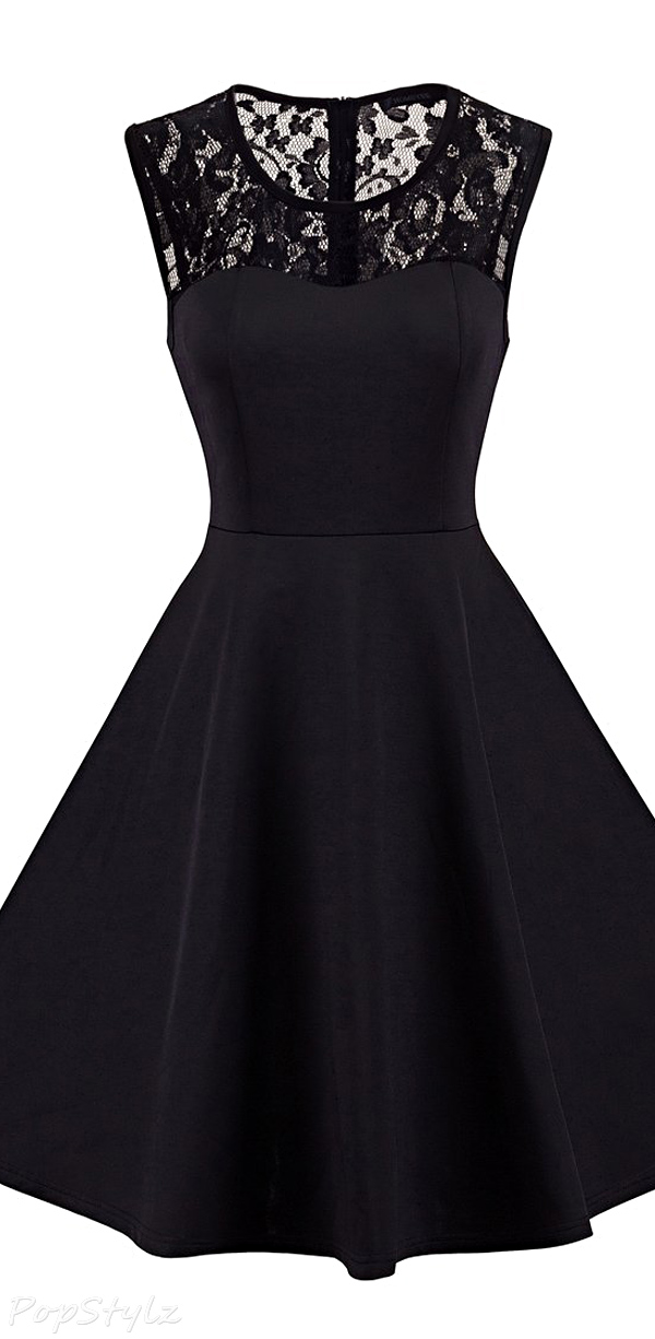 Homeyee Vintage Chic Sleeveless Cocktail Party Dress