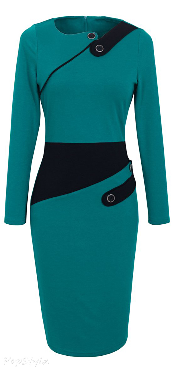 Homeyee Colorblock Wear to Work Pencil Dress