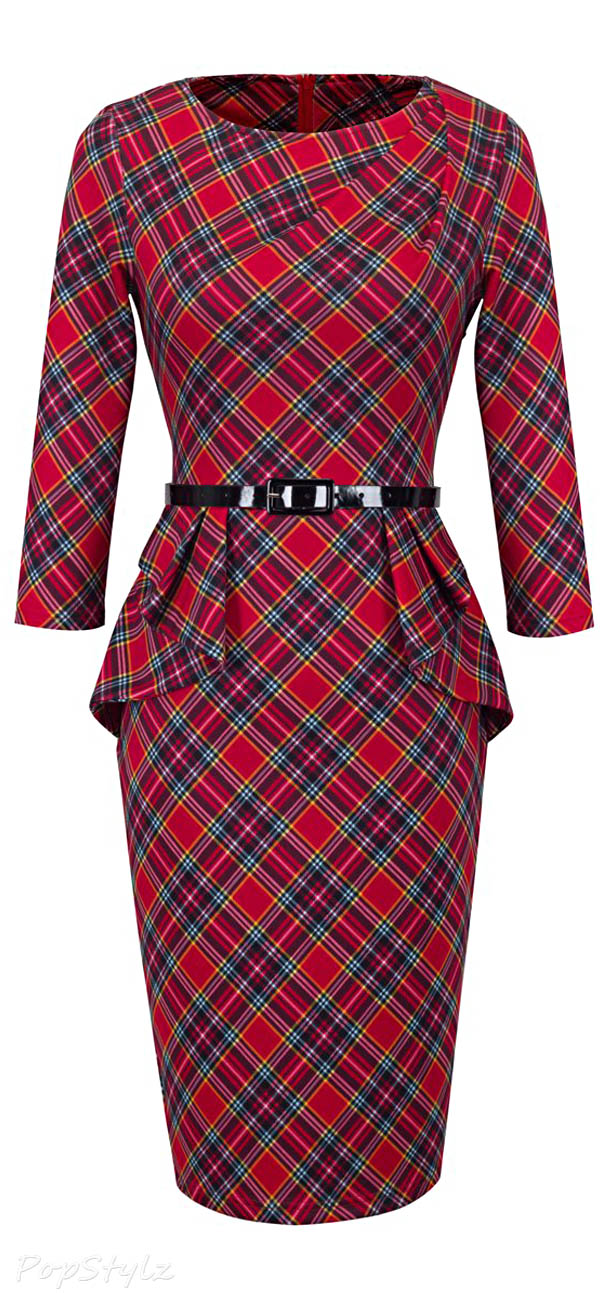 Homeyee Vintage Tartan Wear to Work Bodycon Dress