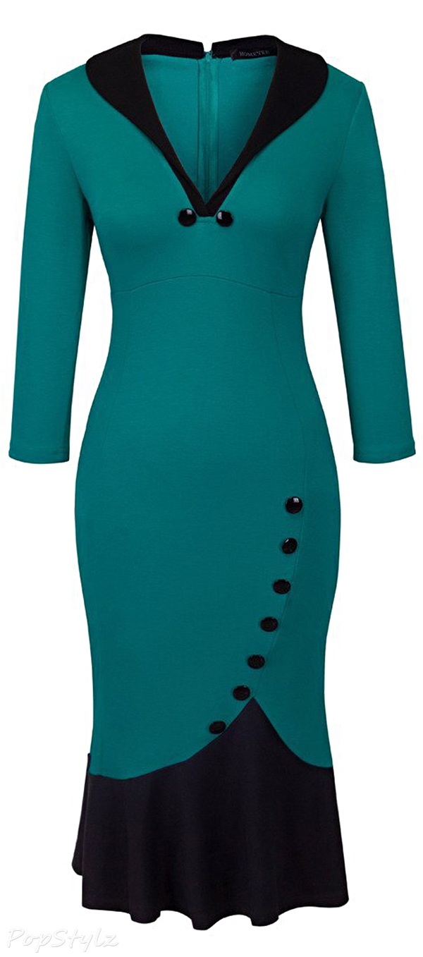 Homeyee UB27 V-Neck Fishtail Pencil Dress