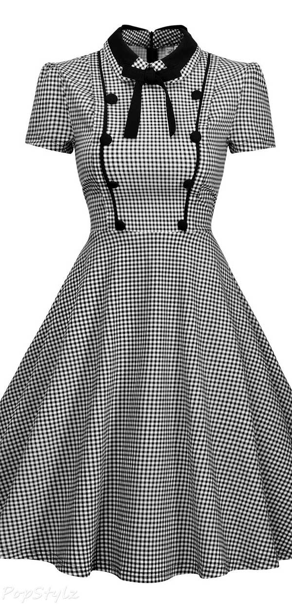 Missmay Vintage 1940's Short Sleeve Plaid Swing Dress