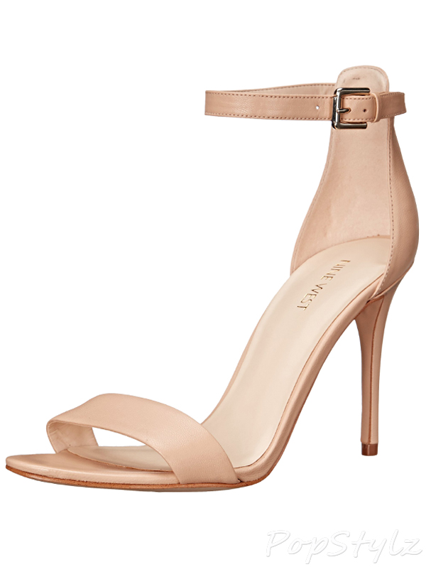 Nine West Women S Mana Leather Heeled Sandal Natural Leather