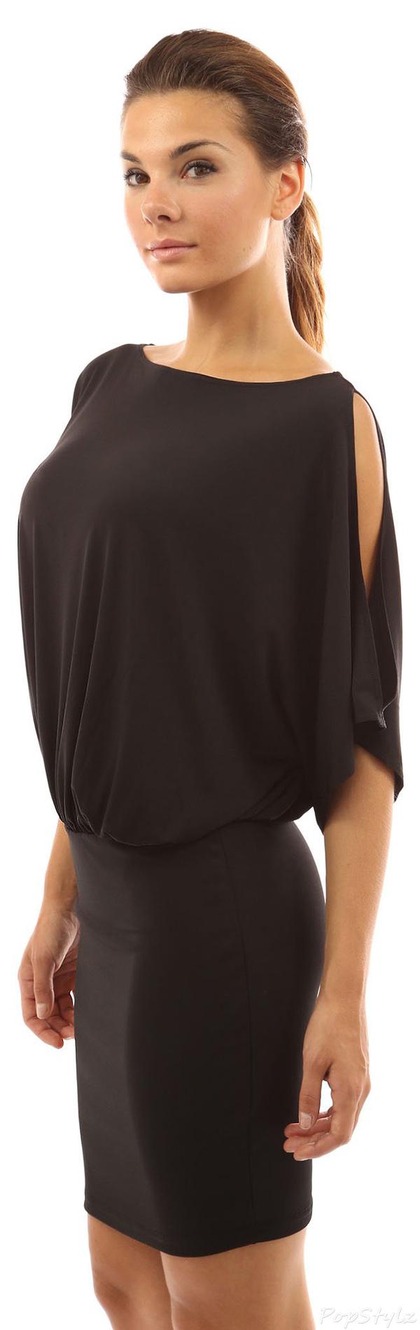 PattyBoutik Cold Shoulder Bat Wing Dress