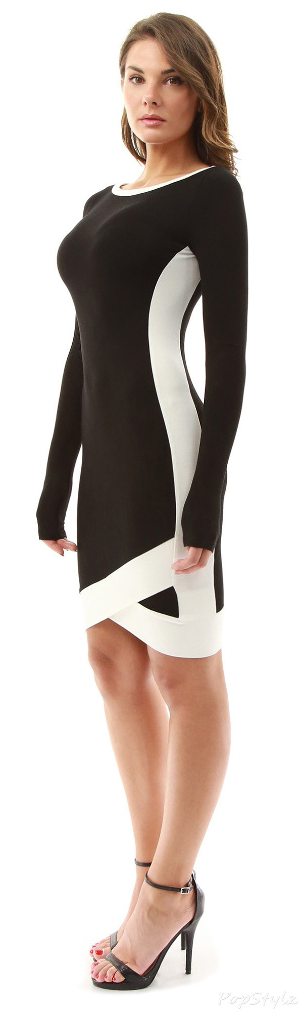 PattyBoutik Boat Neck Long Sleeve Dress