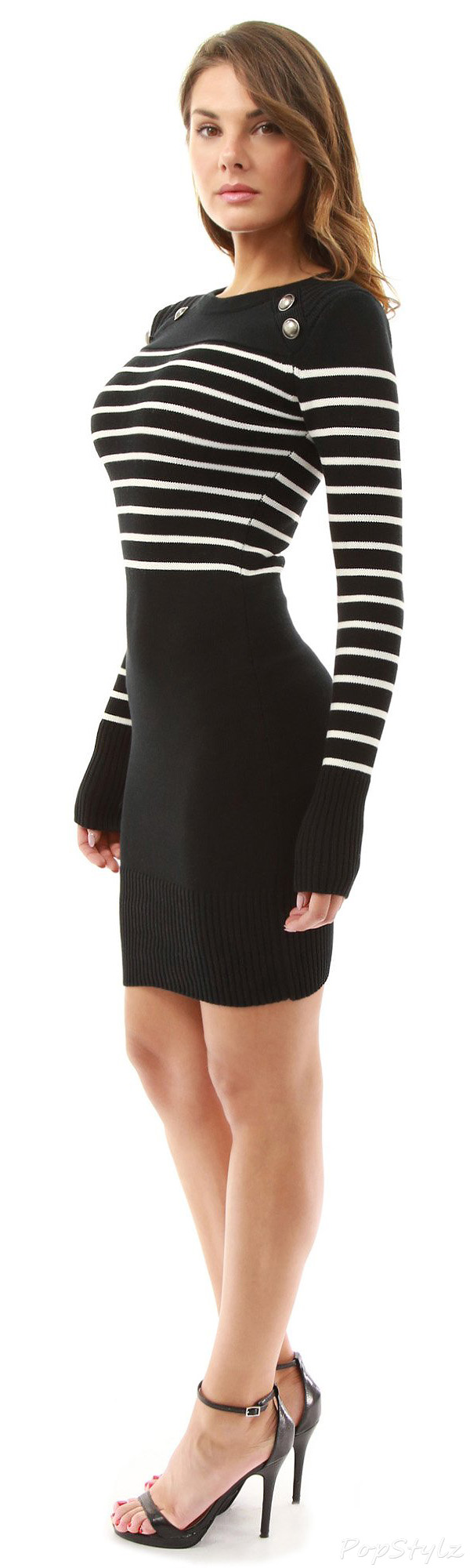 PattyBoutik Military Striped Crew Neck Sweater Dress