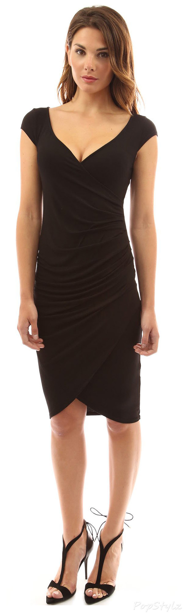 PattyBoutik V-Neck Faux Wrap Ruched Dress