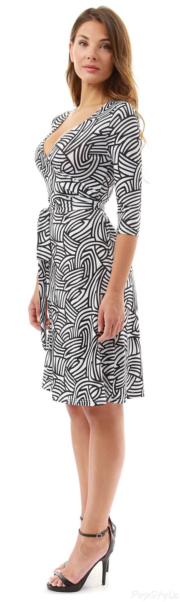 PattyBoutik Faux Wrap A Line Dress