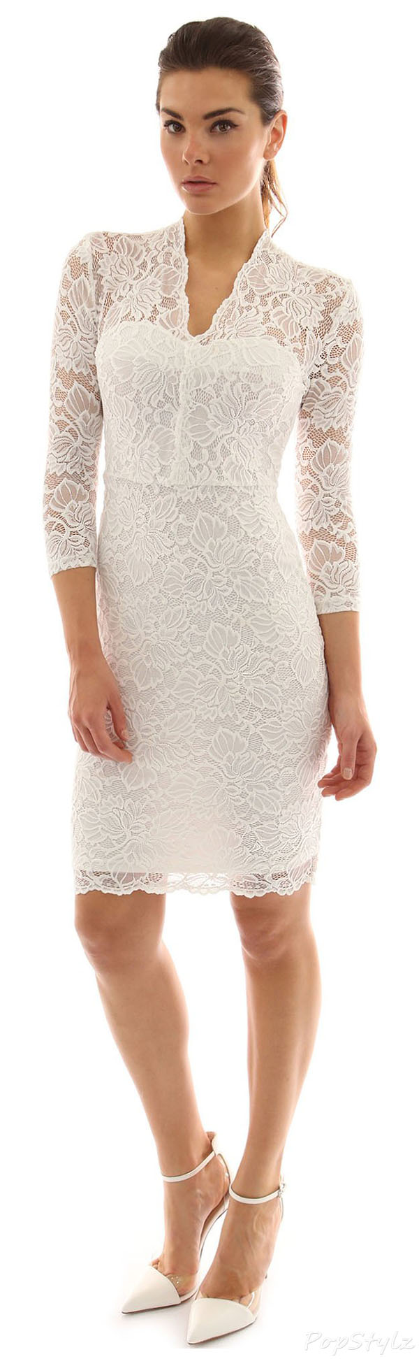PattyBoutik 3/4 Sleeve Lace Overlay Sheath Dress