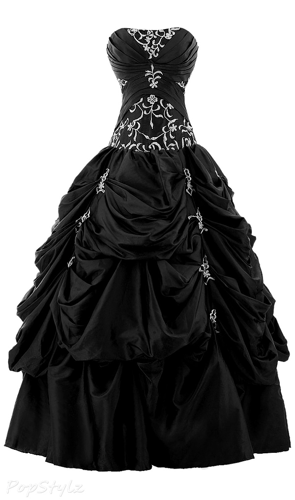 Sunvary Strapless Appliqued Ruffle Long Ball Gown