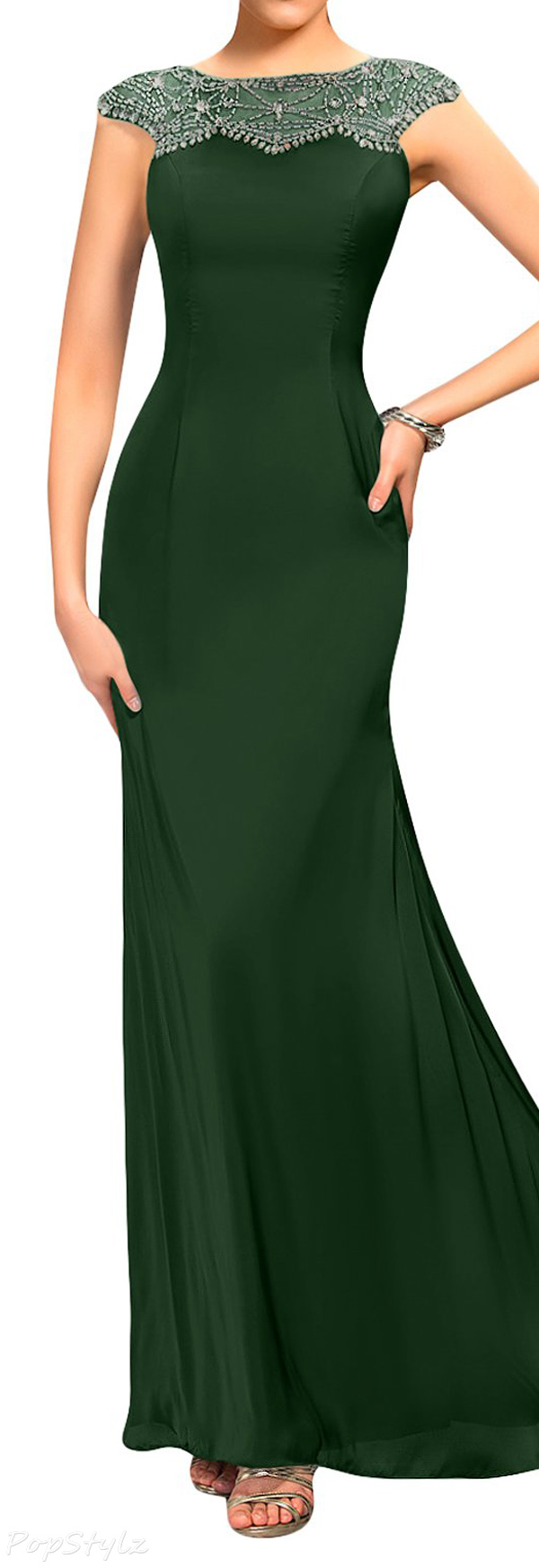 Sunvary Satin Chiffon Sheath Evening Gown