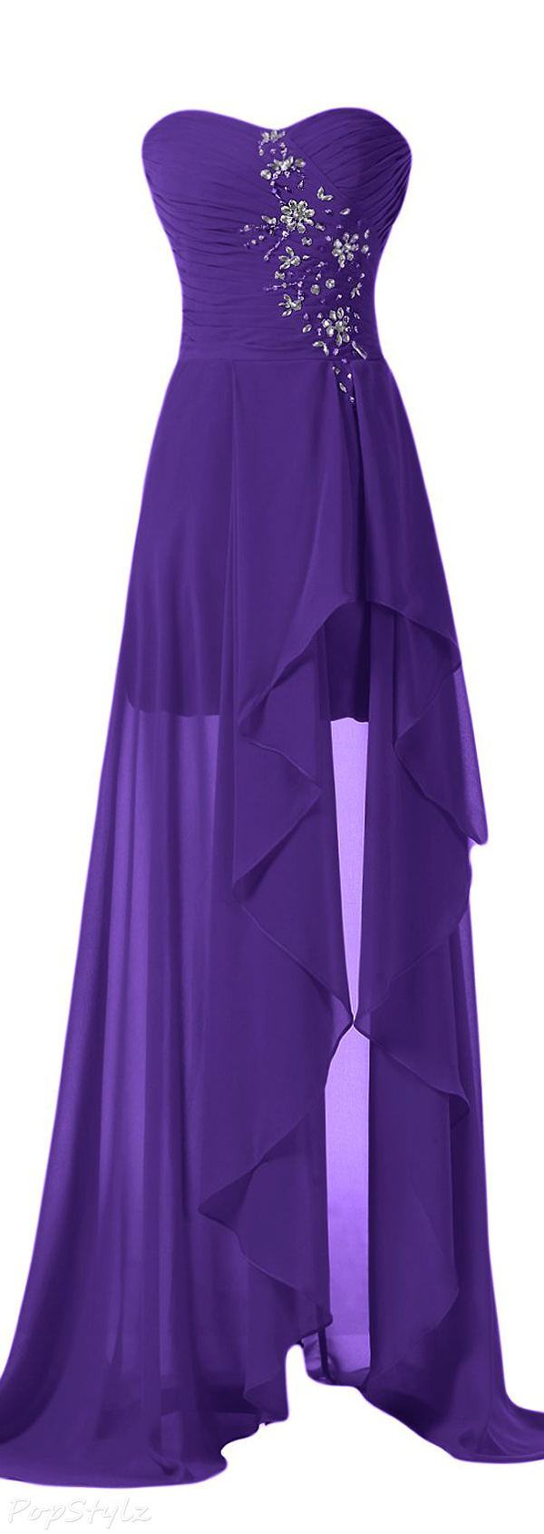 Sunvary High Low Strapless Formal Evening Gown