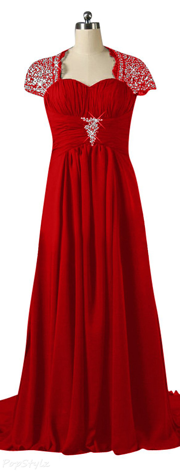 Sunvary Cap Sleeves Formal Evening Gown