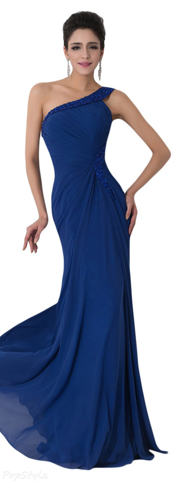 Sunvary Romantic Sequin One Shoulder Evening Gown