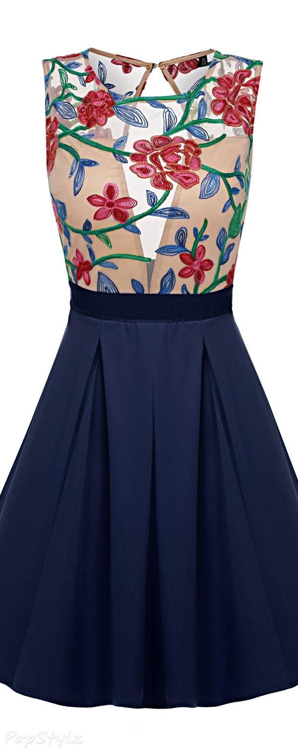 Acevog Mini Cocktail Floral Skater Dress