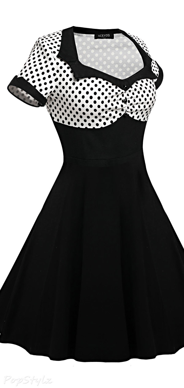 Acevog Vintage Polka Dots Tea Dress