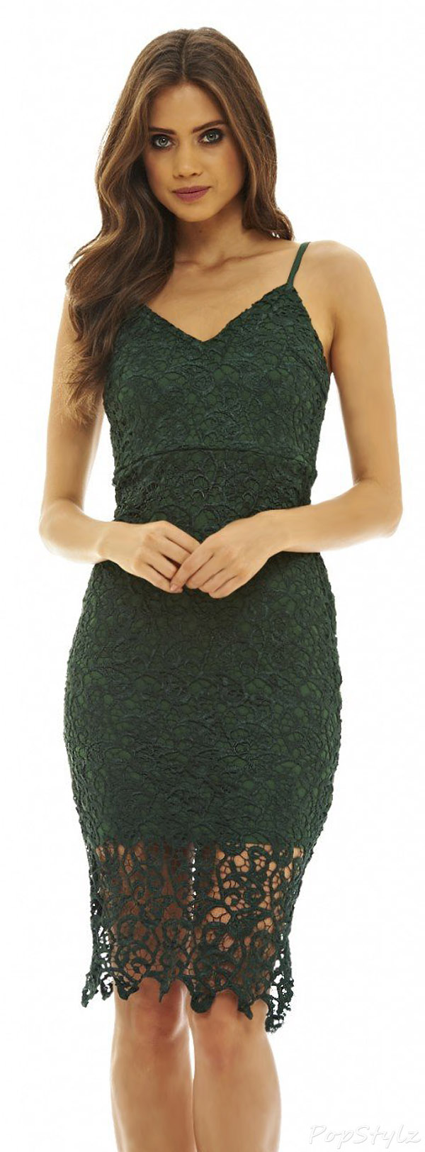 AX Paris V-Neck Crochet Midi Dress