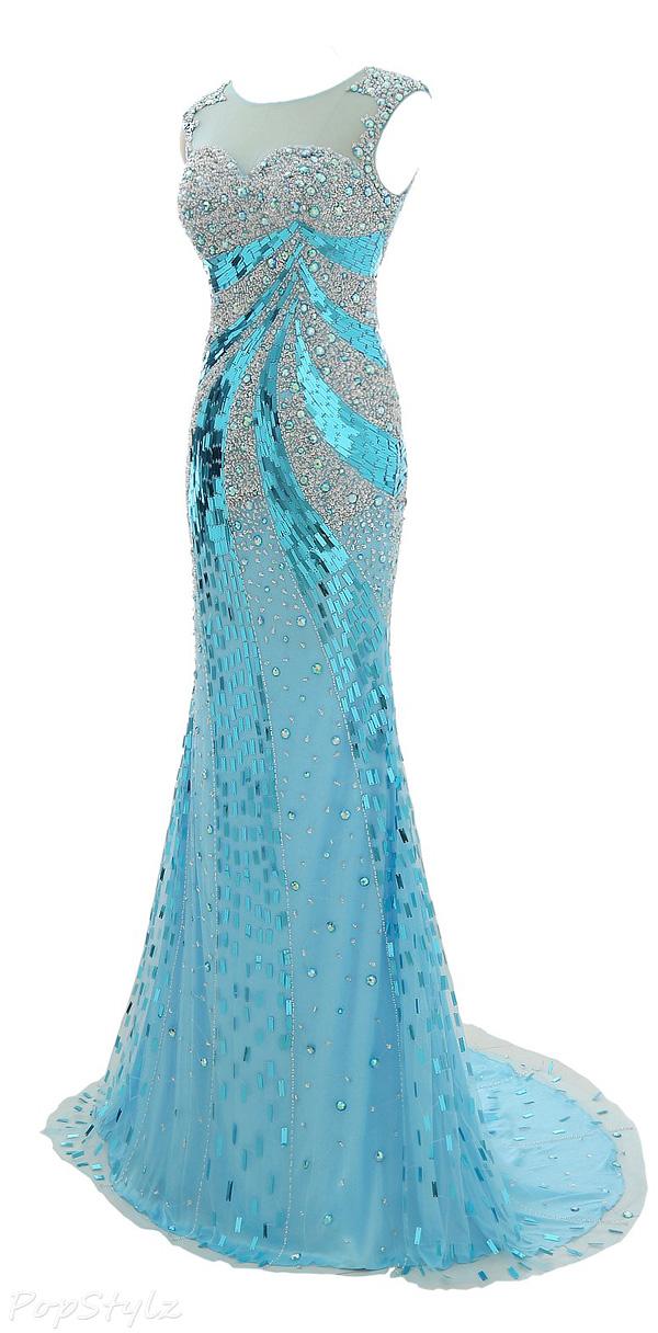 Erosebridal Crystal Beaded Tulle Evening Gown