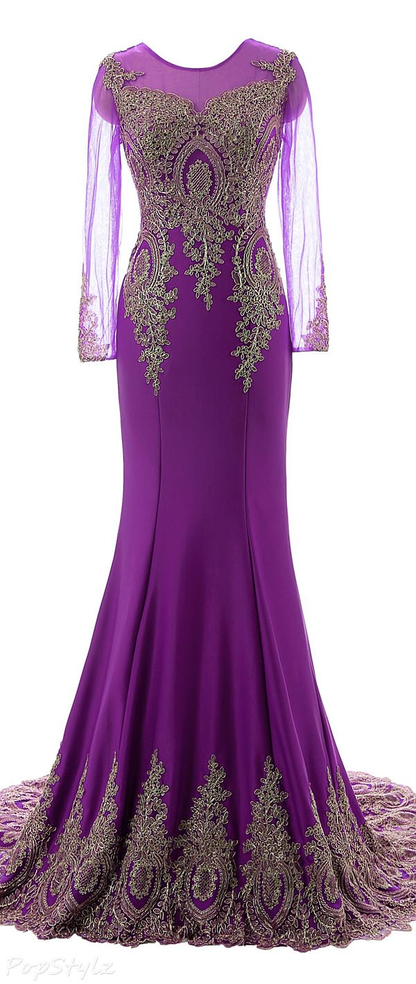 Erosebridal Long Sleeve Appliqued Evening Gown