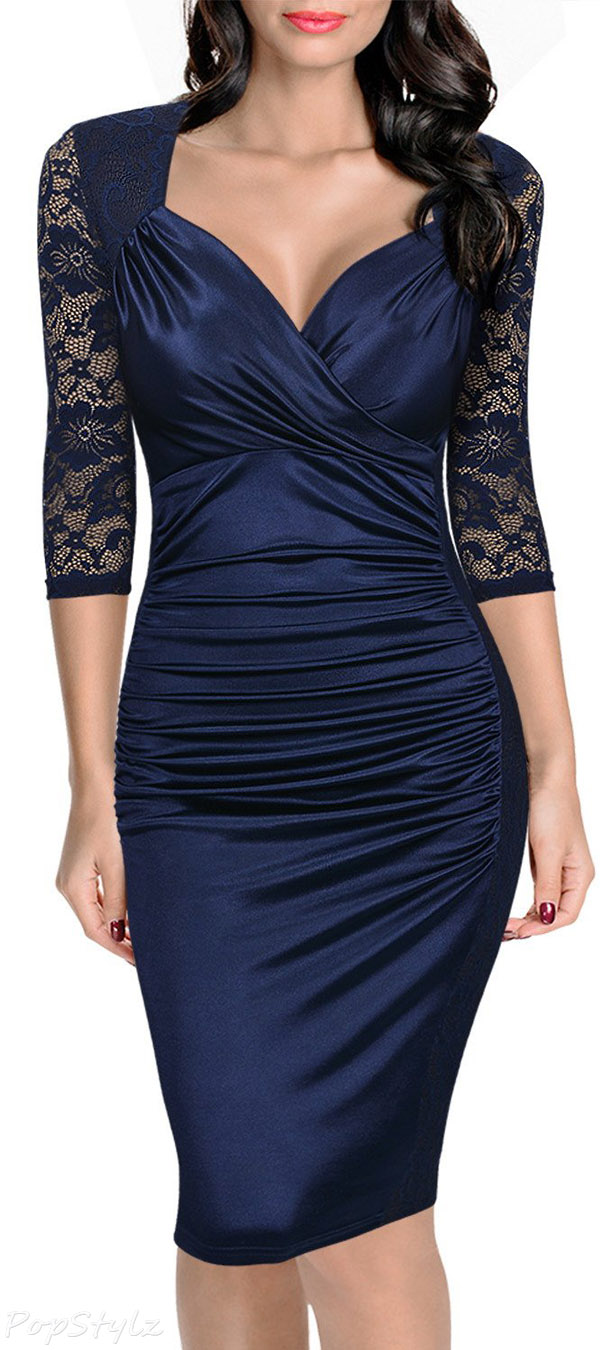 MIUSOL Floral Lace Retro Pencil Evening Dress