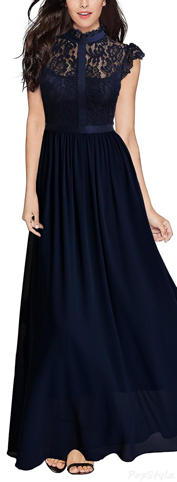 MIUSOL Floral Lace Cap Sleeve Long Evening Dress