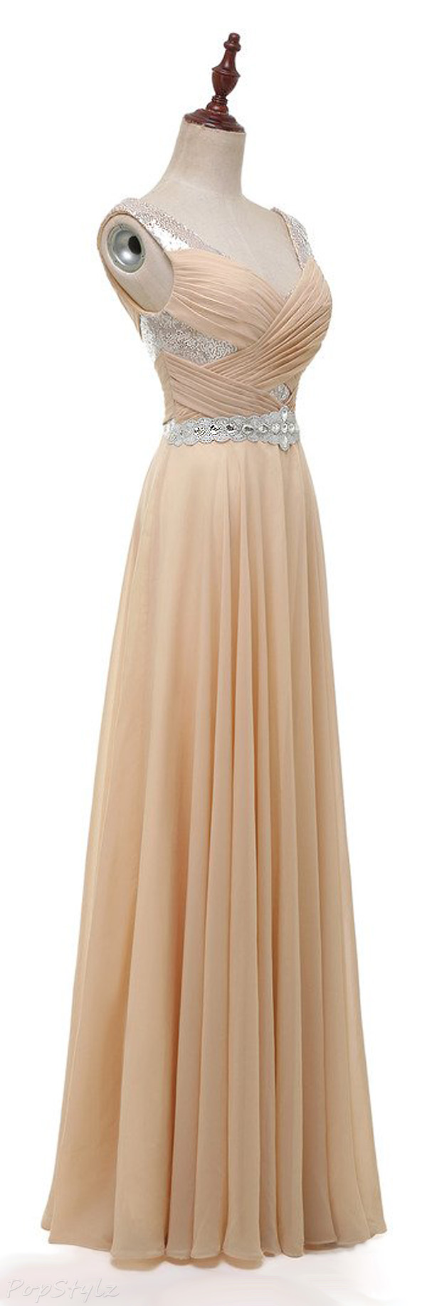 Solovedress Beaded A-Line Evening Gown