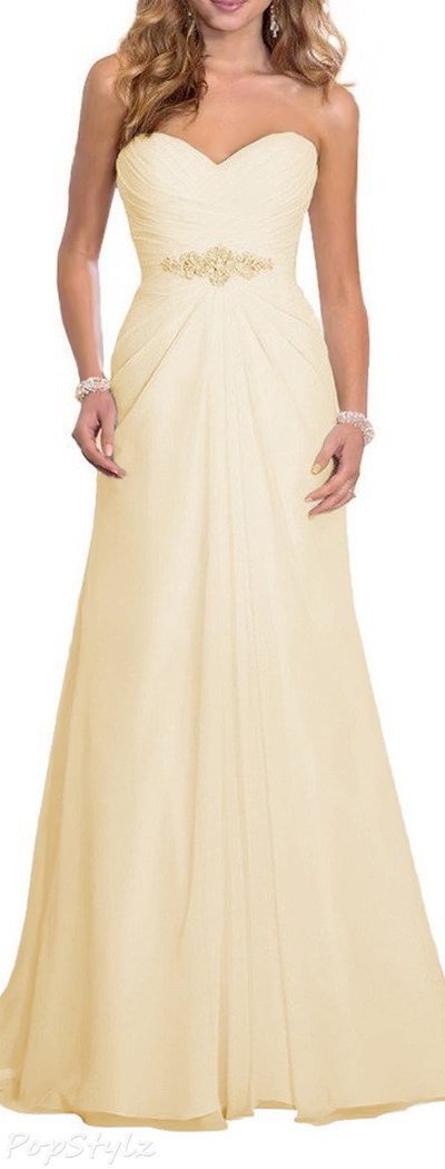 Solovedress Pleated Chiffon Beaded A-Line Gown