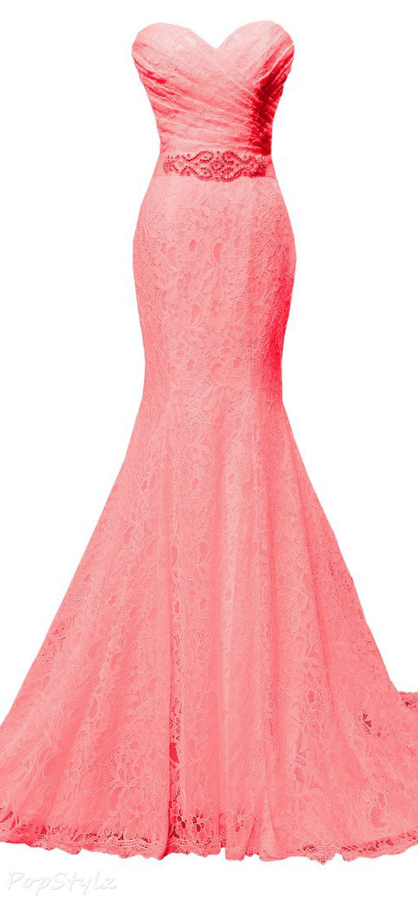 Solovedress Mermaid Pleated Lace Beaded Gown