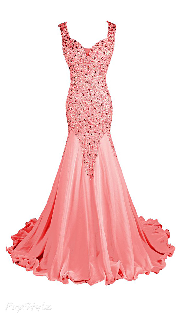 Topdress Sparkling Hand-Sewn Beads Evening Gown