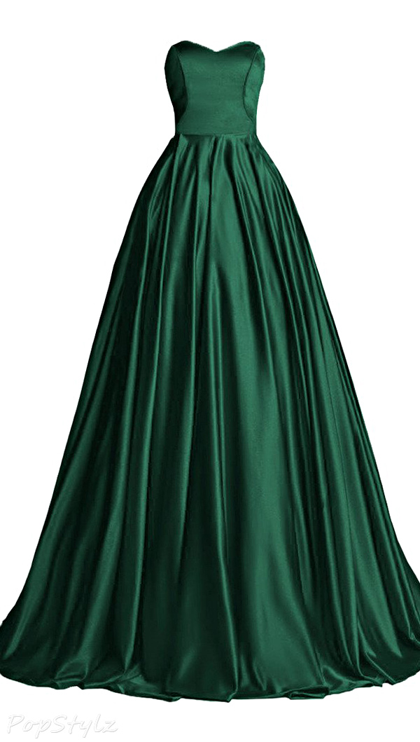 Topdress Sweetheart Satin Evening Gown with Train