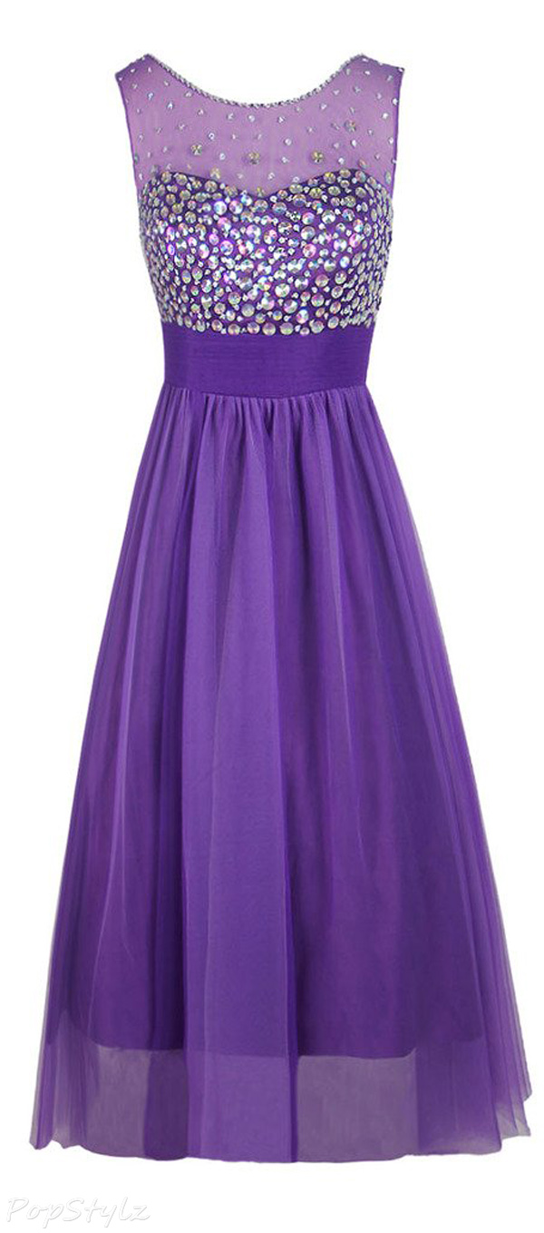 Topdress Crystal Tulle Long Evening Gown