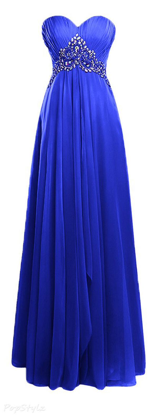 Topdress Sweetheart Beaded Ruffled Evening Gown