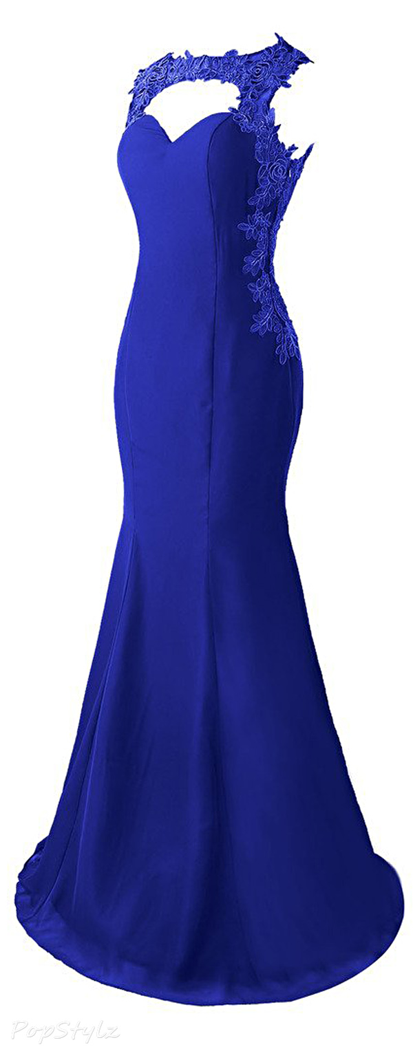 Topdress Lace Appliques Sheer Back Evening Gown
