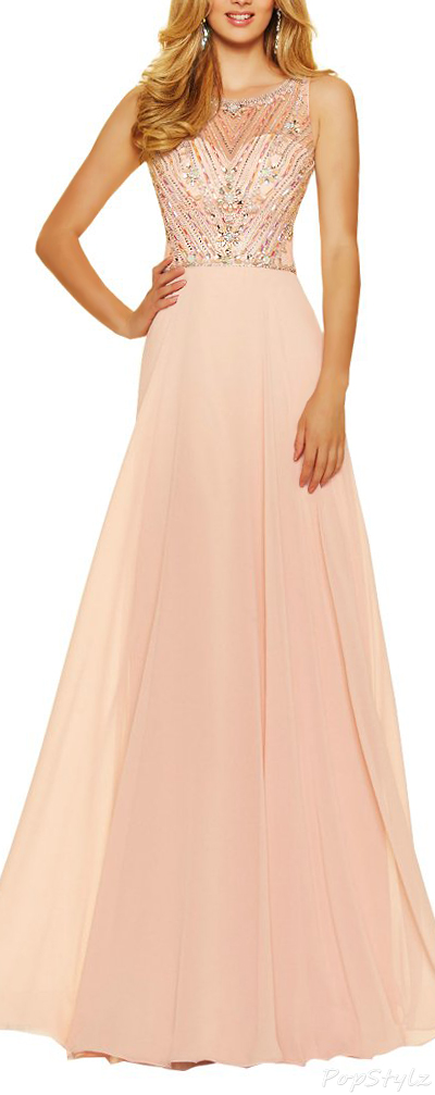 Alinafeng Open Back Long Gown with Crystals
