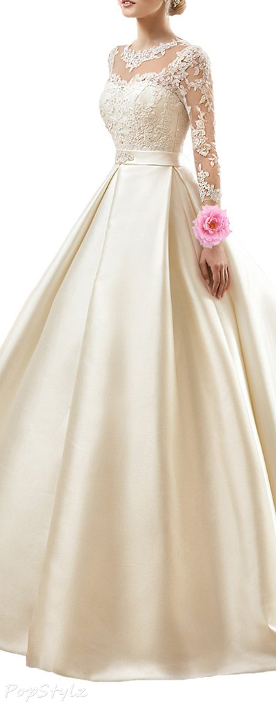 Alinafeng Lace Satin Gown with Long Train
