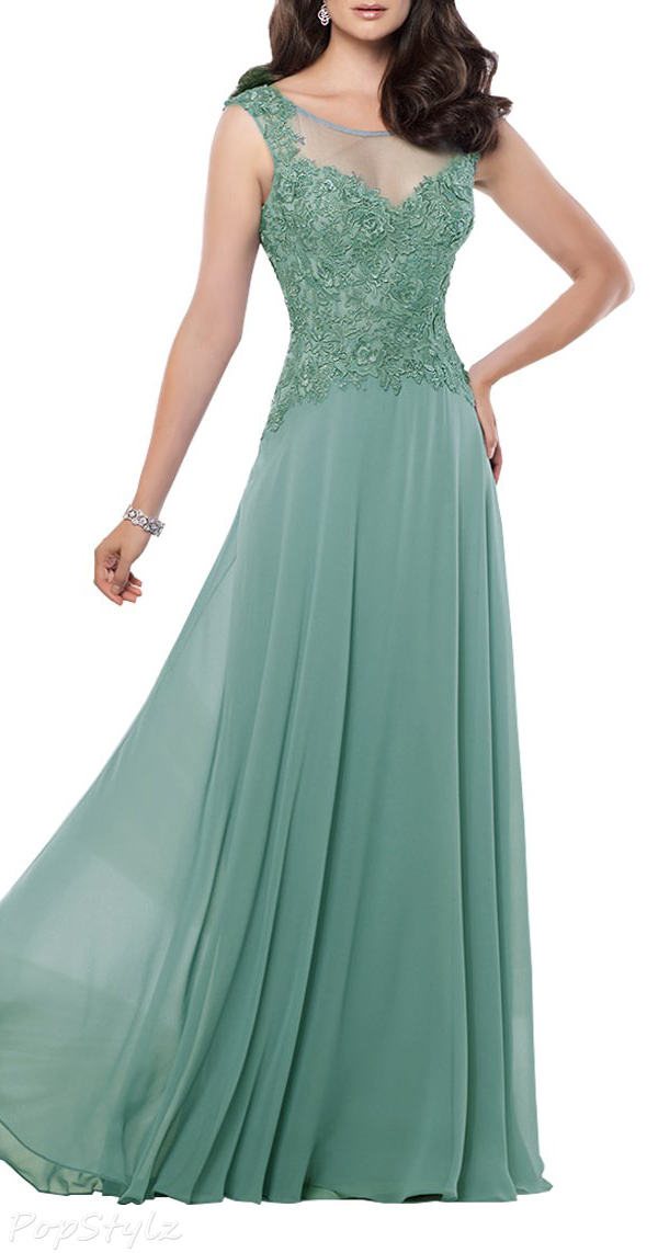 Alinafeng V-Neck Lace Chiffon Evening Gown