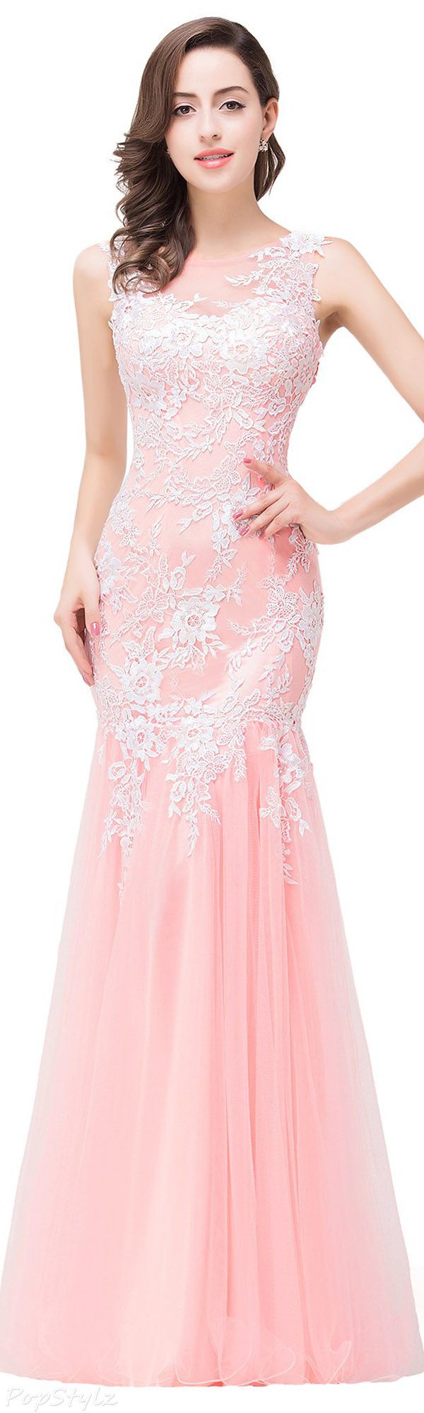 Babyonline Tulle & Lace Appliques Evening Gown