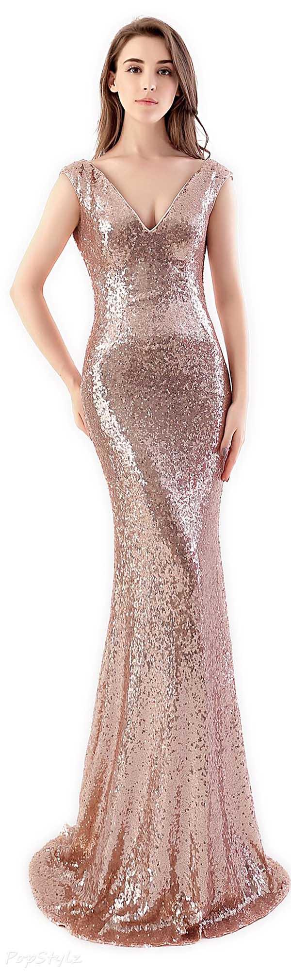 Babyonline Shining Satin & Sequins Mermaid Gown